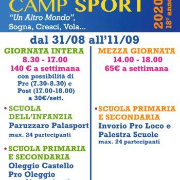 CAMP SPORT SETTEMBRE e Novità Palestra